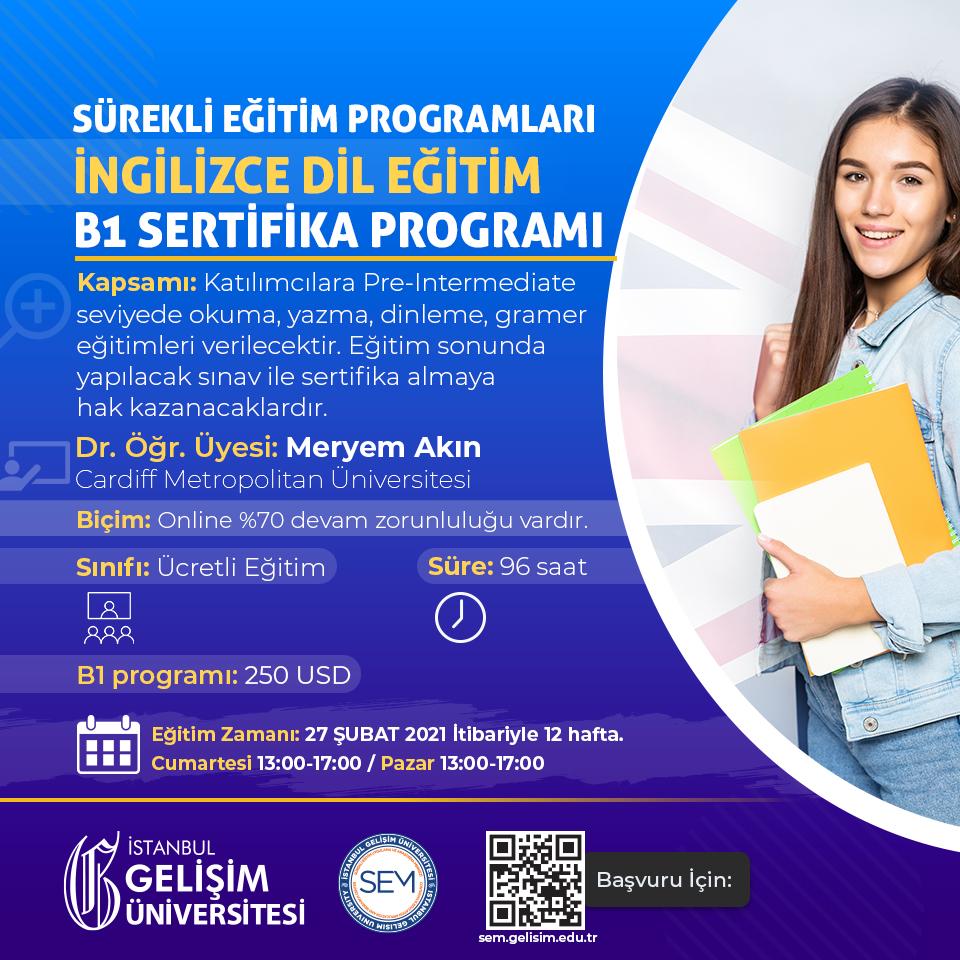 İngilizce Dil Eğitimi B1 Seviyesi Sertifika Programı