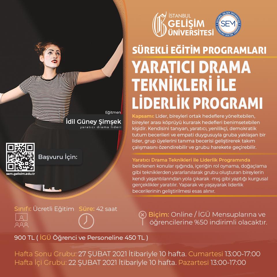 Yaratıcı Drama Teknikleri ile Liderlik Programı (Hafta sonu Programı)
